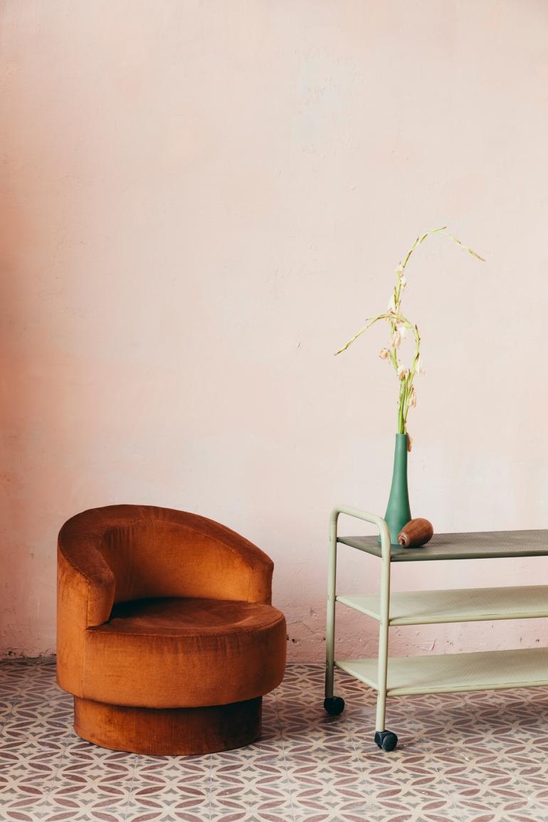 Brick Velvet armchair